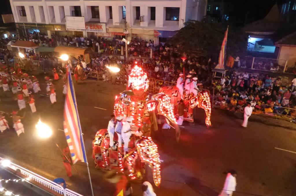 赤のイルミネーションで飾られた象の行進
