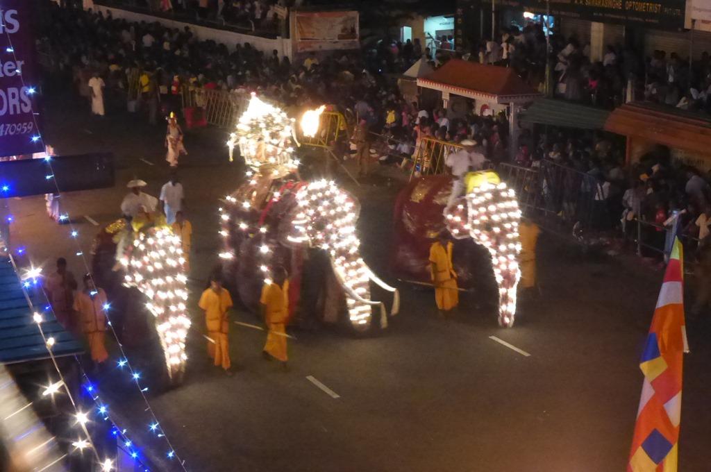 延々と続く象とキャンディアンダンサーのパレード