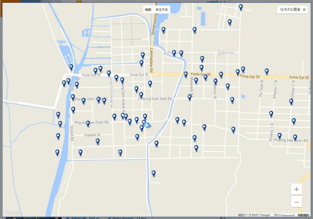 ニャウンシュエのホテルマップ