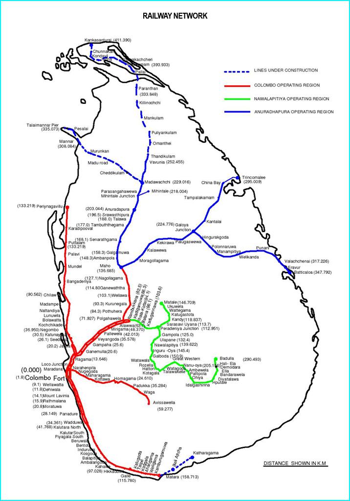 スリランカ鉄道路線図