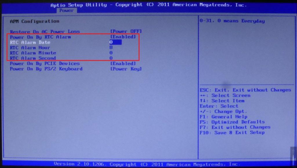 BIOS設定画面で電源ONの時刻を設定する