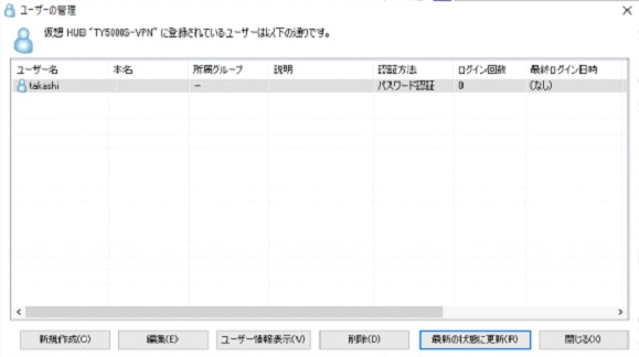 Softether VPN Server [ユーザーの管理]画面